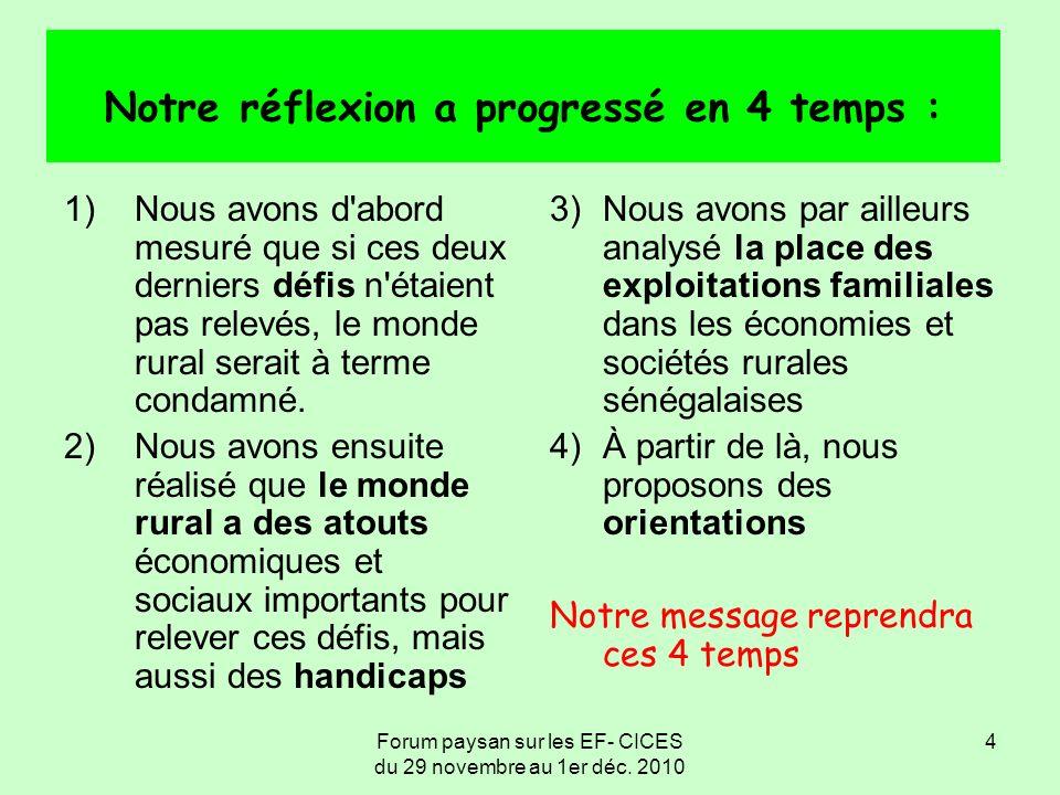 Forum paysan sur les EF- CICES du 29 novembre au 1er déc. 2010 4 Notre réflexion a progressé en 4 temps : 1)Nous avons d'abord mesuré que si ces deux
