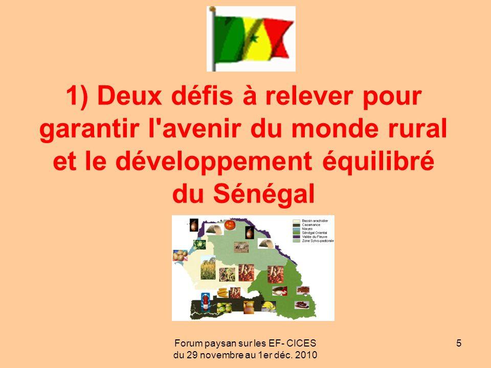 Forum paysan sur les EF- CICES du 29 novembre au 1er déc. 2010 5 1) Deux défis à relever pour garantir l'avenir du monde rural et le développement équ