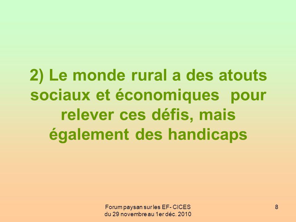 Forum paysan sur les EF- CICES du 29 novembre au 1er déc. 2010 8 2) Le monde rural a des atouts sociaux et économiques pour relever ces défis, mais ég