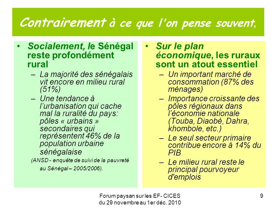 Forum paysan sur les EF- CICES du 29 novembre au 1er déc. 2010 9 Contrairement à ce que l'on pense souvent, Socialement, le Sénégal reste profondément