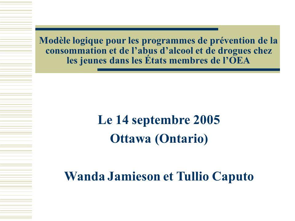 Modèle logique pour les programmes de prévention de la consommation et de labus dalcool et de drogues chez les jeunes dans les États membres de lOEA Le 14 septembre 2005 Ottawa (Ontario) Wanda Jamieson et Tullio Caputo