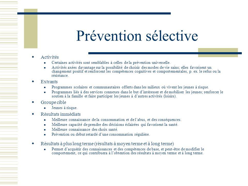 Prévention universelle Activités Informer et sensibiliser les jeunes au sujet de la consommation et de labus dalcool et de drogues et de leurs conséqu