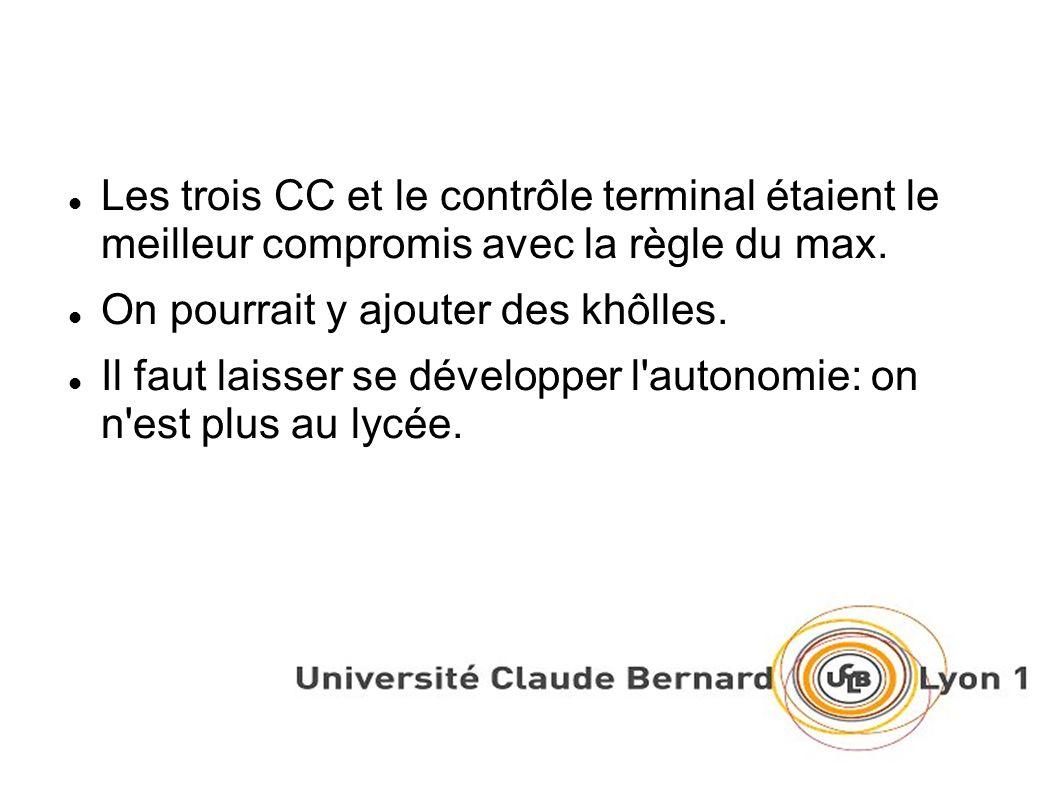 Les trois CC et le contrôle terminal étaient le meilleur compromis avec la règle du max.