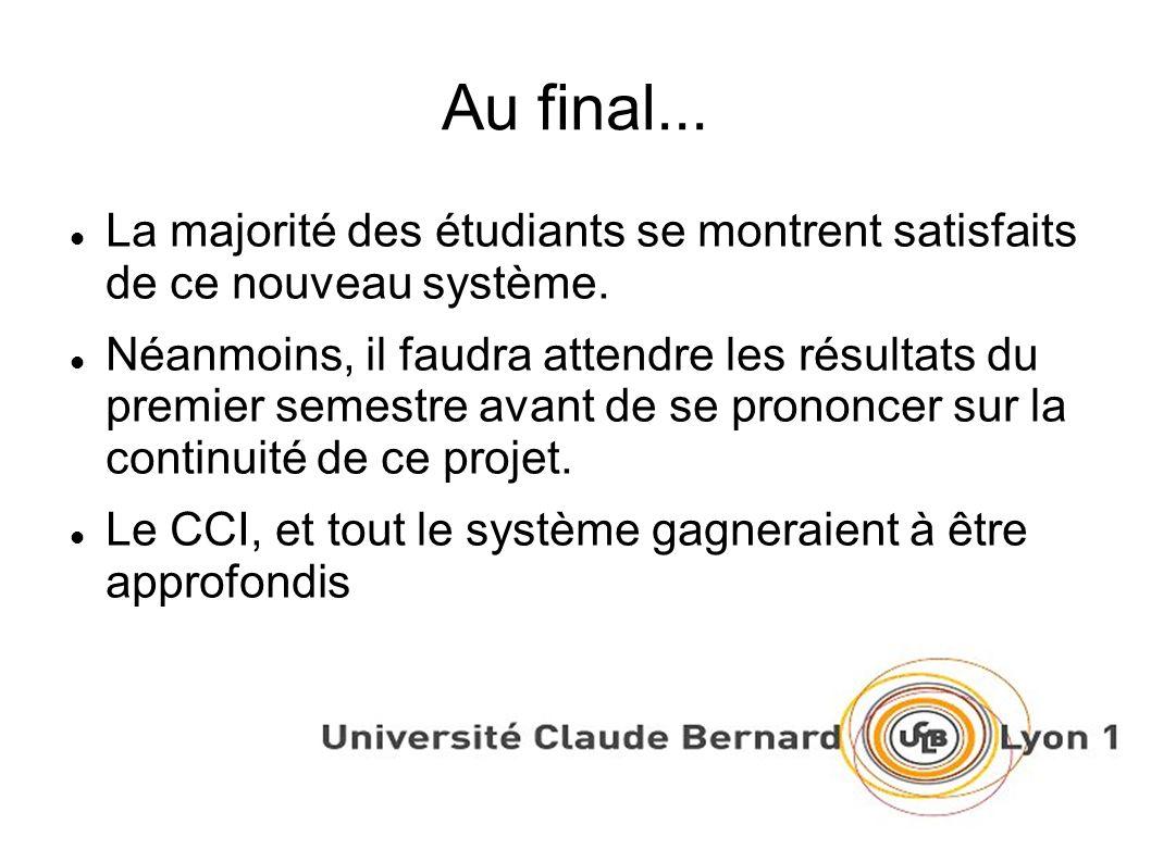 Au final... La majorité des étudiants se montrent satisfaits de ce nouveau système.