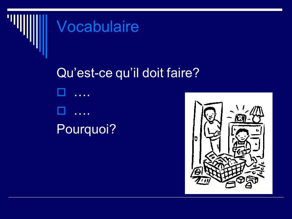 Vocabulaire Quest-ce quil doit faire? …. Pourquoi?