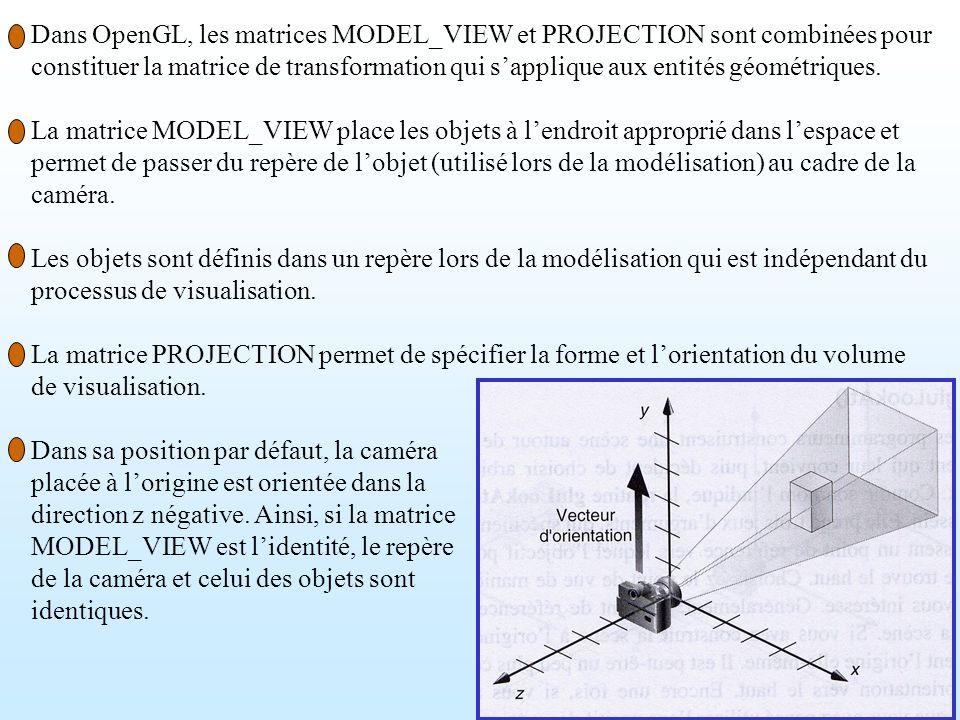 2 Dans OpenGL, les matrices MODEL_VIEW et PROJECTION sont combinées pour constituer la matrice de transformation qui sapplique aux entités géométrique