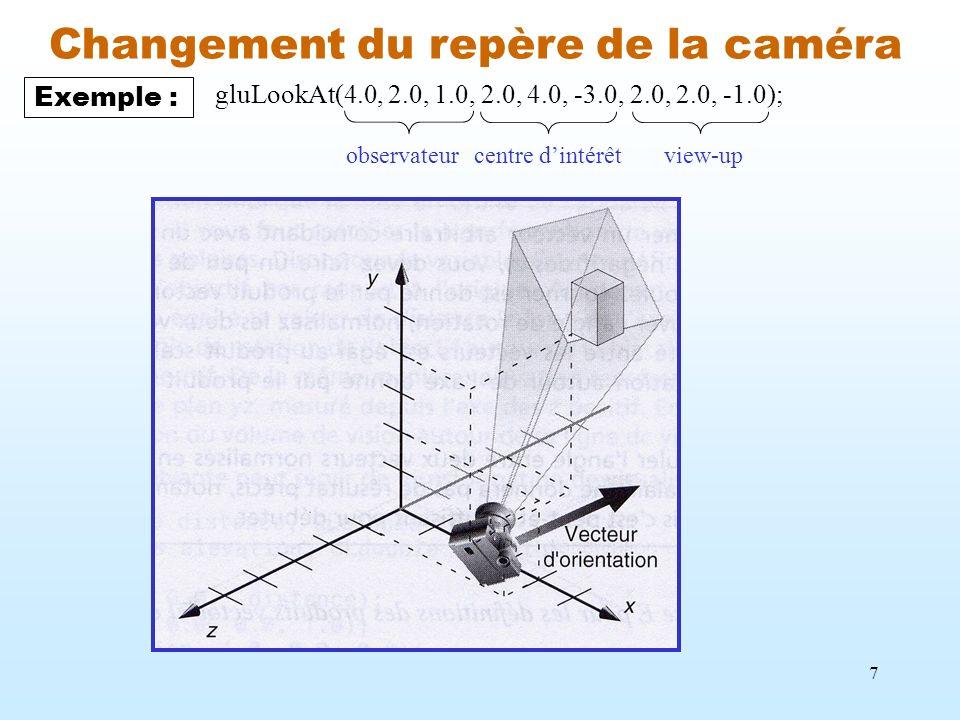 7 Changement du repère de la caméra Exemple : gluLookAt(4.0, 2.0, 1.0, 2.0, 4.0, -3.0, 2.0, 2.0, -1.0); observateurcentre dintérêtview-up
