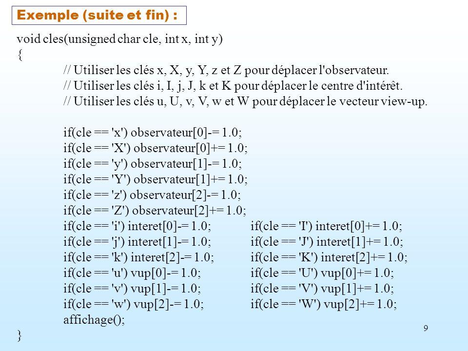 9 Exemple (suite et fin) : void cles(unsigned char cle, int x, int y) { // Utiliser les clés x, X, y, Y, z et Z pour déplacer l'observateur. // Utilis