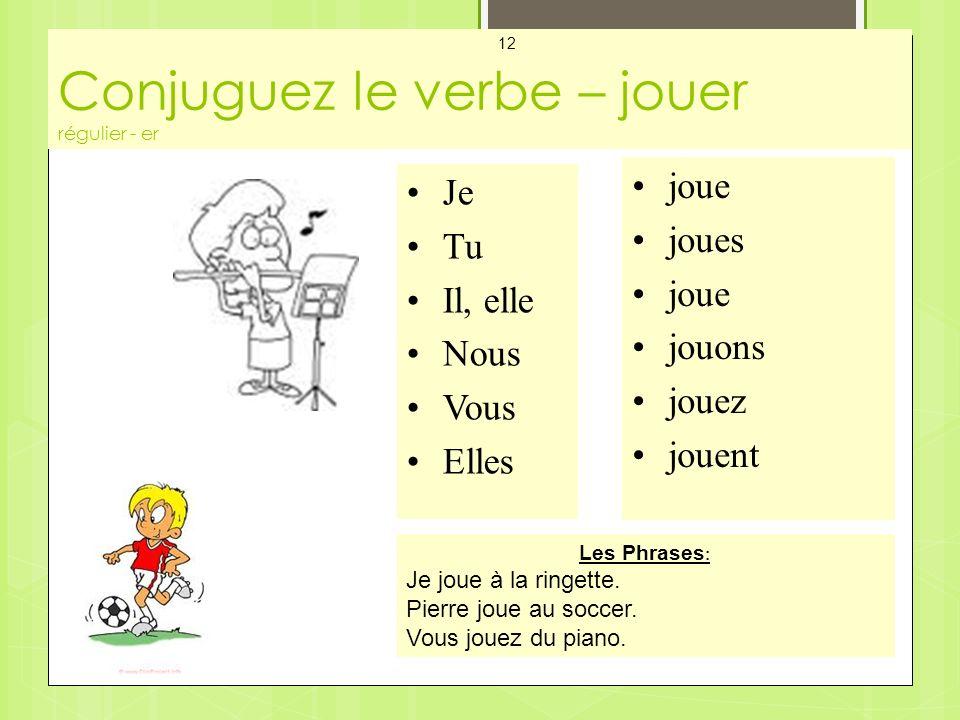 Conjuguez le verbe – jouer régulier - er Mes Cartes - Les Verbes 12 Je Tu Il, elle Nous Vous Elles joue joues joue jouons jouez jouent Les Phrases : Je joue à la ringette.