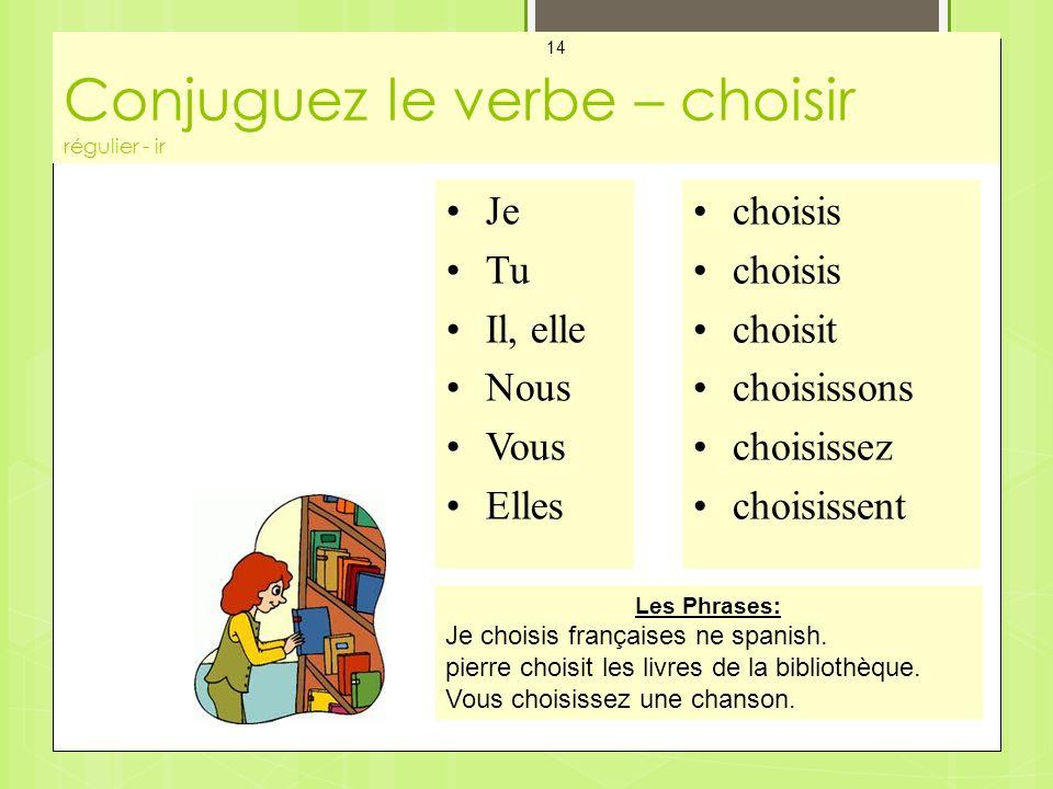 Conjuguez le verbe – choisir régulier - ir Mes Cartes - Les Verbes 14 Je Tu Il, elle Nous Vous Elles choisis choisit choisissons choisissez choisissent Les Phrases: Je choisis françaises ne spanish.