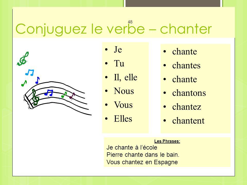 Conjuguez le verbe – chanter Mes Cartes - Les Verbes 48 Je Tu Il, elle Nous Vous Elles chante chantes chante chantons chantez chantent Les Phrases: Je chante à lécole Pierre chante dans le bain.