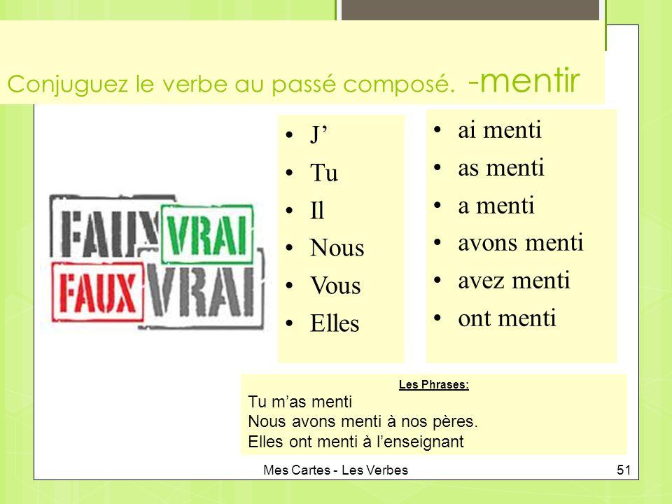 Mes Cartes - Les Verbes51 Conjuguez le verbe au passé composé.