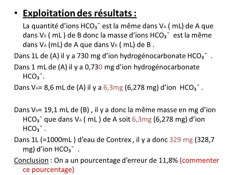 Exploitation des résultats : La quantité dions HCO¯ est la même dans V A ( mL) de A que dans V B ( mL ) de B donc la masse dions HCO¯ est la même dans