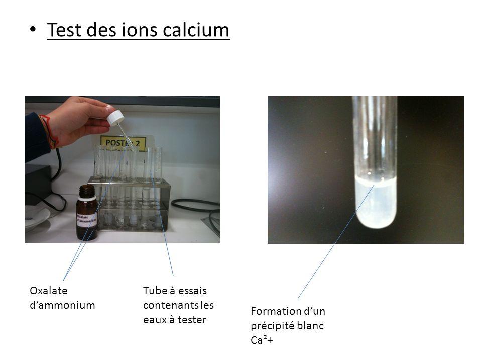Test des ions calcium Oxalate dammonium Tube à essais contenants les eaux à tester Formation dun précipité blanc Ca²+