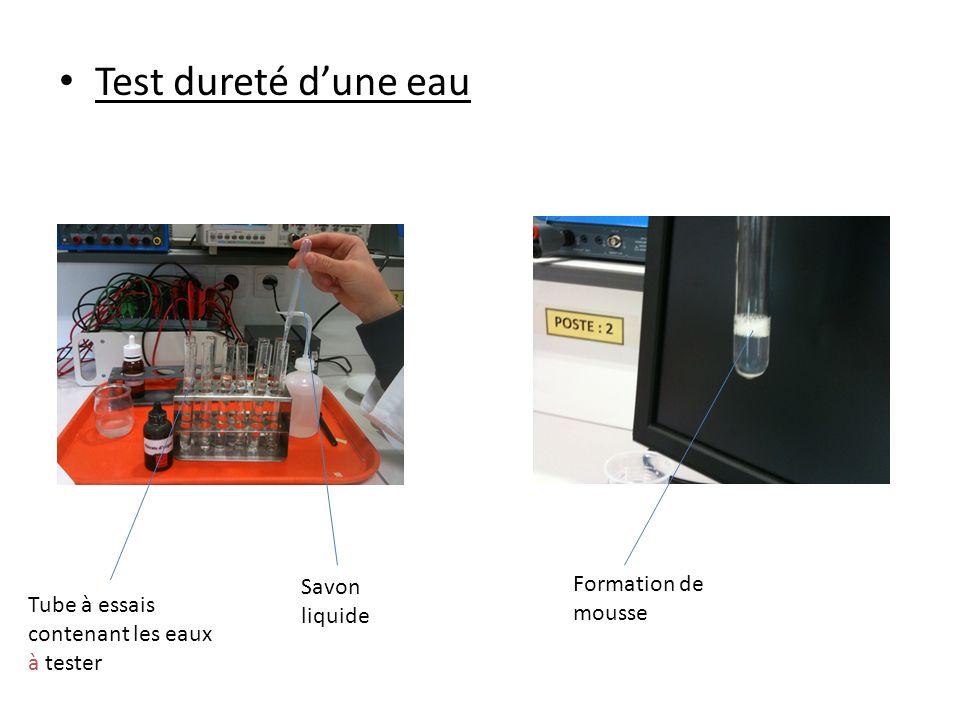 Test dureté dune eau Tube à essais contenant les eaux à tester Savon liquide Formation de mousse