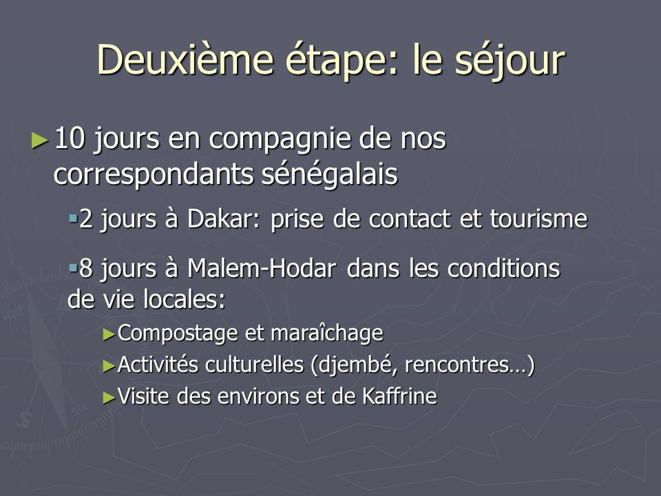 Deuxième étape: le séjour 10 jours en compagnie de nos correspondants sénégalais 10 jours en compagnie de nos correspondants sénégalais 2 jours à Dakar: prise de contact et tourisme 2 jours à Dakar: prise de contact et tourisme 8 jours à Malem-Hodar dans les conditions de vie locales: 8 jours à Malem-Hodar dans les conditions de vie locales: Compostage et maraîchage Compostage et maraîchage Activités culturelles (djembé, rencontres…) Activités culturelles (djembé, rencontres…) Visite des environs et de Kaffrine Visite des environs et de Kaffrine