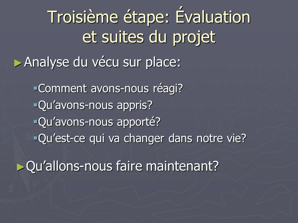 Troisième étape: Évaluation et suites du projet Analyse du vécu sur place: Analyse du vécu sur place: Comment avons-nous réagi.