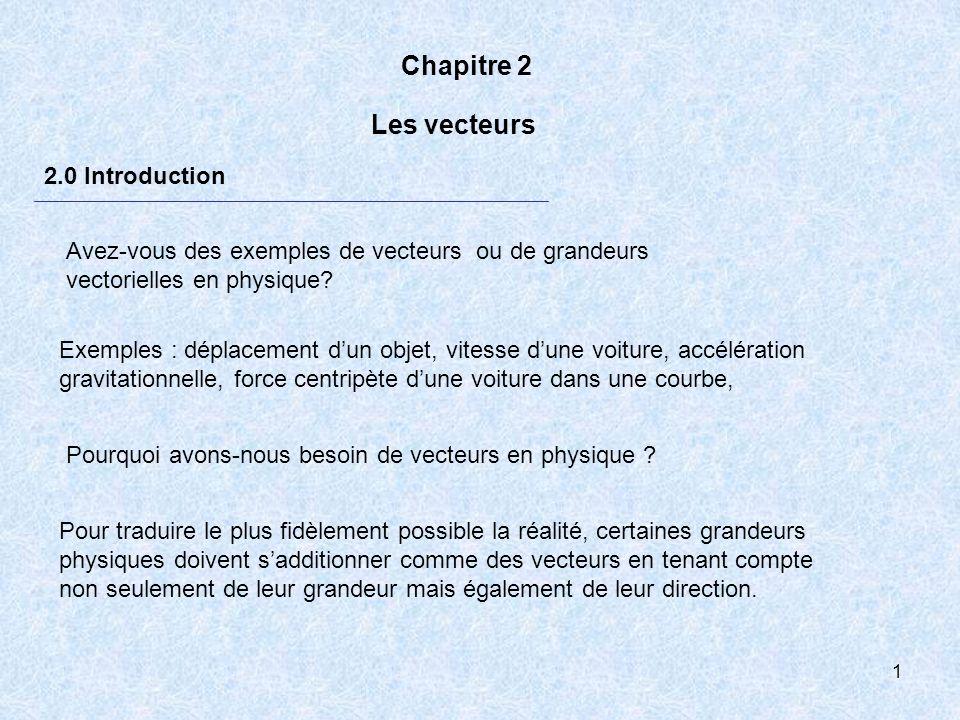 1 Chapitre 2 2.0 Introduction Les vecteurs Pourquoi avons-nous besoin de vecteurs en physique ? Pour traduire le plus fidèlement possible la réalité,