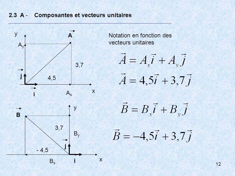 12 2.3 A - Composantes et vecteurs unitaires x y i j A AxAx AyAy Notation en fonction des vecteurs unitaires 3,7 x y i BxBx j B ByBy - 4,5 4,5