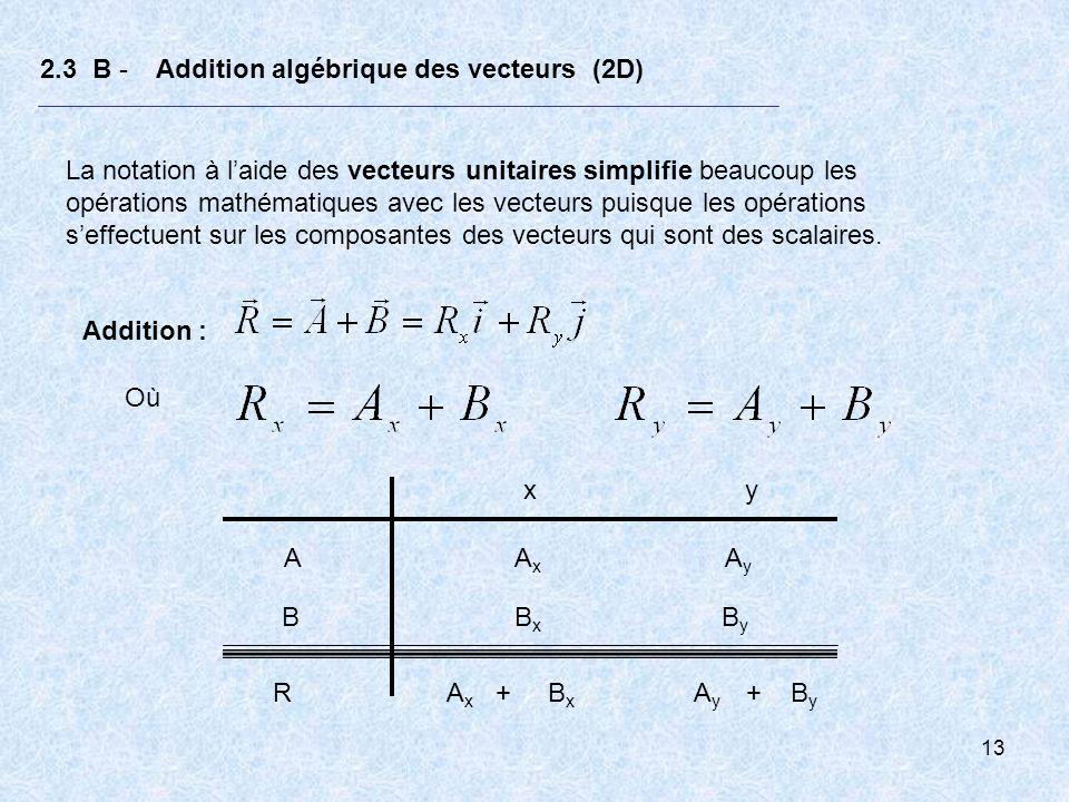 13 2.3 B - Addition algébrique des vecteurs (2D) La notation à laide des vecteurs unitaires simplifie beaucoup les opérations mathématiques avec les v