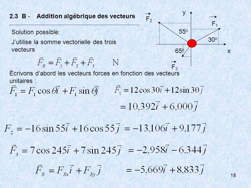 18 2.3 B - Addition algébrique des vecteurs Solution possible: Jutilise la somme vectorielle des trois vecteurs Écrivons dabord les vecteurs forces en