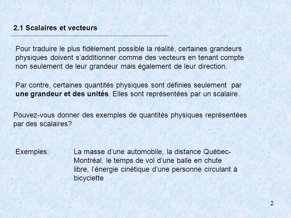 2 2.1 Scalaires et vecteurs Par contre, certaines quantités physiques sont définies seulement par une grandeur et des unités. Elles sont représentées