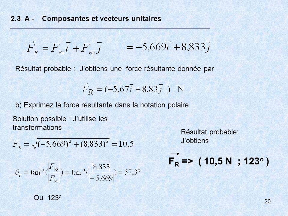 20 2.3 A - Composantes et vecteurs unitaires Résultat probable : Jobtiens une force résultante donnée par b) Exprimez la force résultante dans la nota