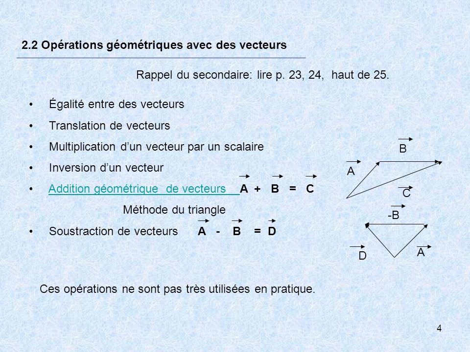 4 2.2 Opérations géométriques avec des vecteurs Égalité entre des vecteurs Translation de vecteurs Multiplication dun vecteur par un scalaire Inversio