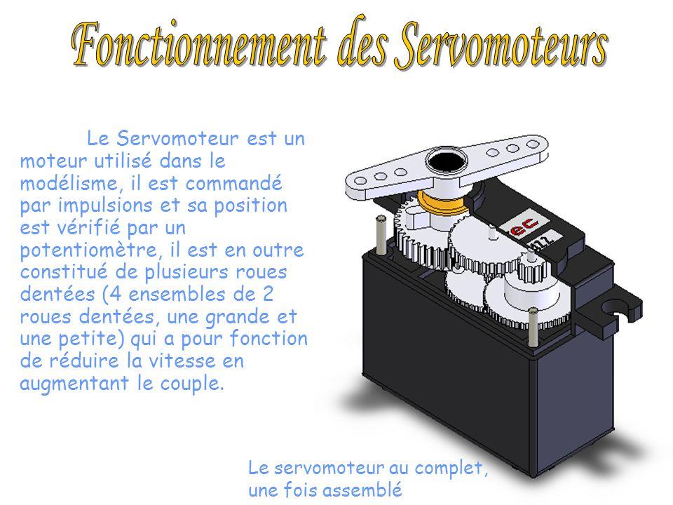 Le Servomoteur est un moteur utilisé dans le modélisme, il est commandé par impulsions et sa position est vérifié par un potentiomètre, il est en outr