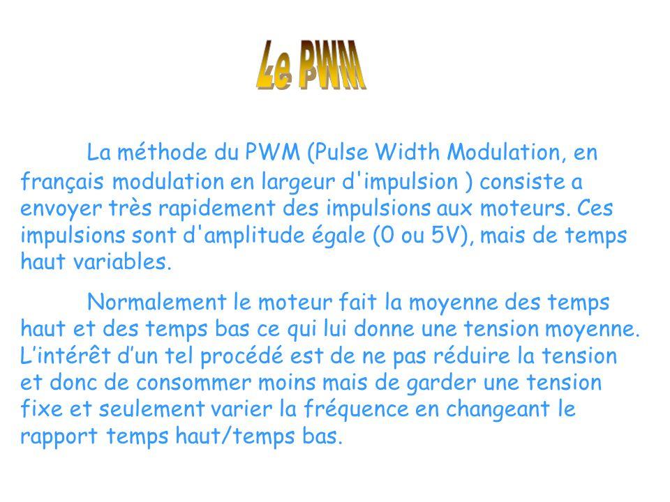 La méthode du PWM (Pulse Width Modulation, en français modulation en largeur d impulsion ) consiste a envoyer très rapidement des impulsions aux moteurs.