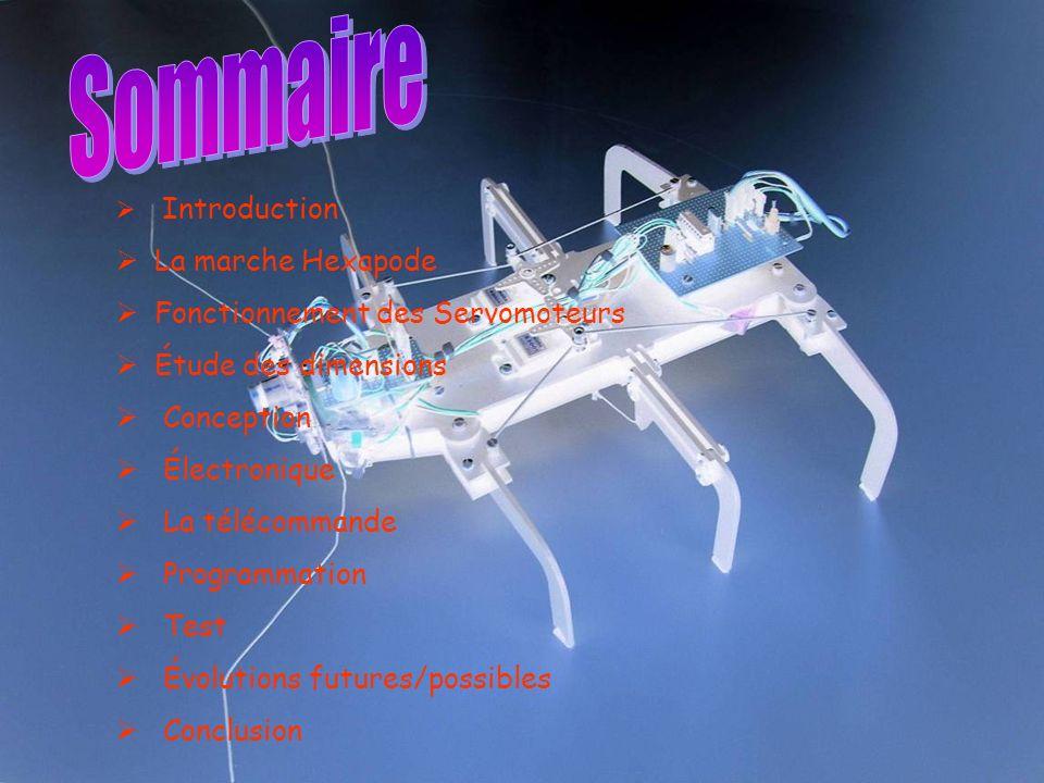 Introduction La marche Hexapode Fonctionnement des Servomoteurs Étude des dimensions Conception Électronique La télécommande Programmation Test Évolutions futures/possibles Conclusion