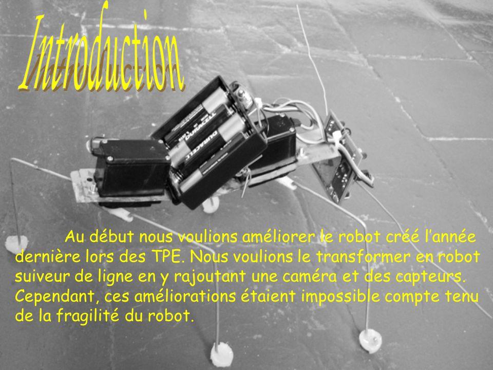 Au début nous voulions améliorer le robot créé lannée dernière lors des TPE. Nous voulions le transformer en robot suiveur de ligne en y rajoutant une