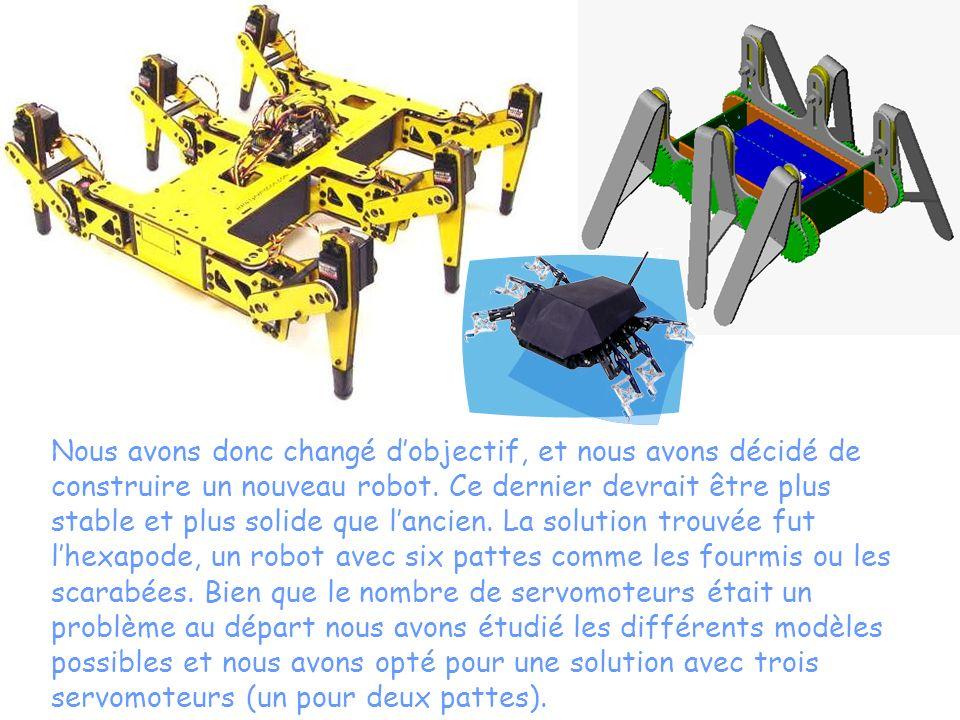 Nous avons donc changé dobjectif, et nous avons décidé de construire un nouveau robot. Ce dernier devrait être plus stable et plus solide que lancien.