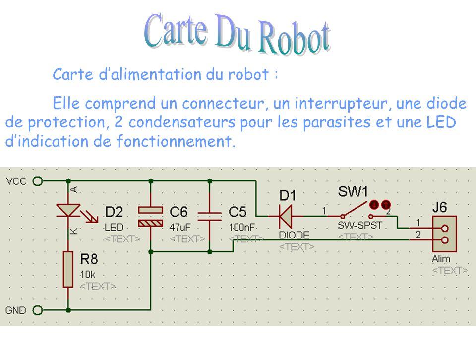 Carte dalimentation du robot : Elle comprend un connecteur, un interrupteur, une diode de protection, 2 condensateurs pour les parasites et une LED dindication de fonctionnement.