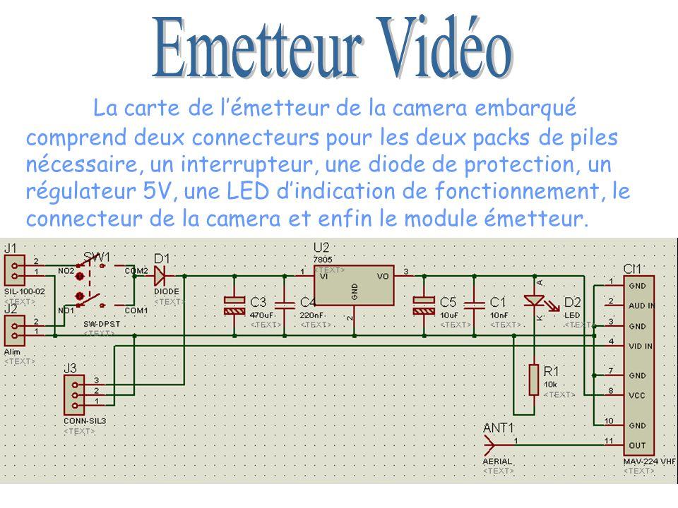 La carte de lémetteur de la camera embarqué comprend deux connecteurs pour les deux packs de piles nécessaire, un interrupteur, une diode de protectio