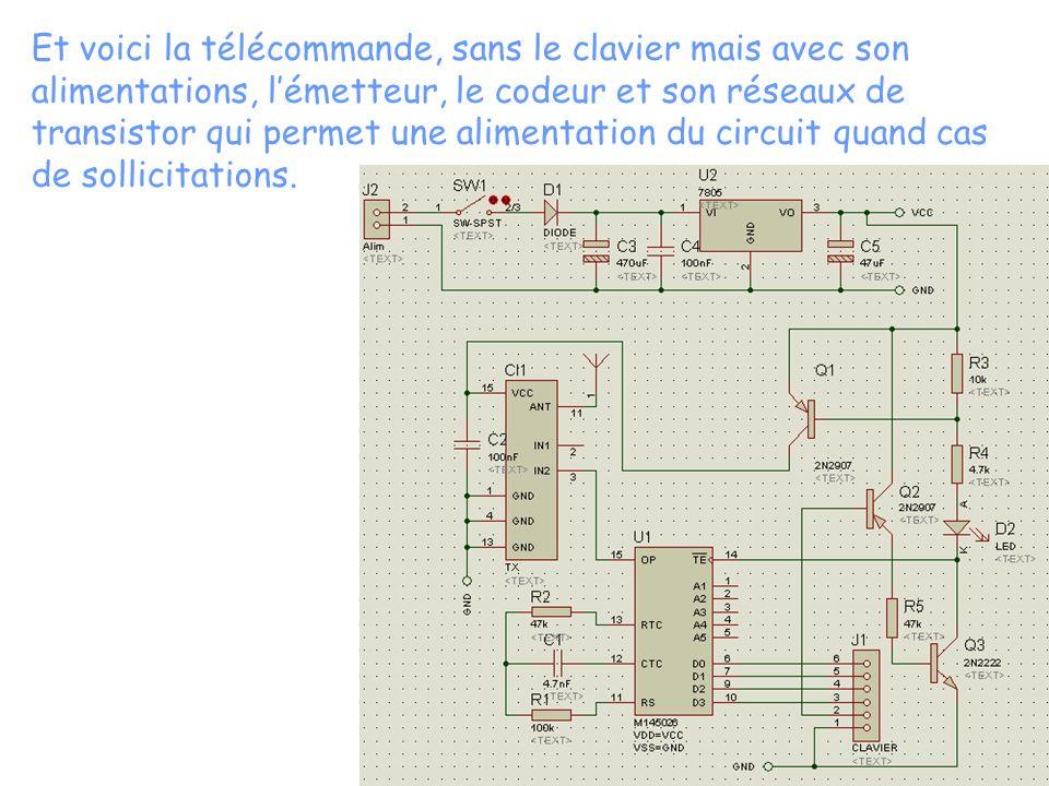 Et voici la télécommande, sans le clavier mais avec son alimentations, lémetteur, le codeur et son réseaux de transistor qui permet une alimentation du circuit quand cas de sollicitations.