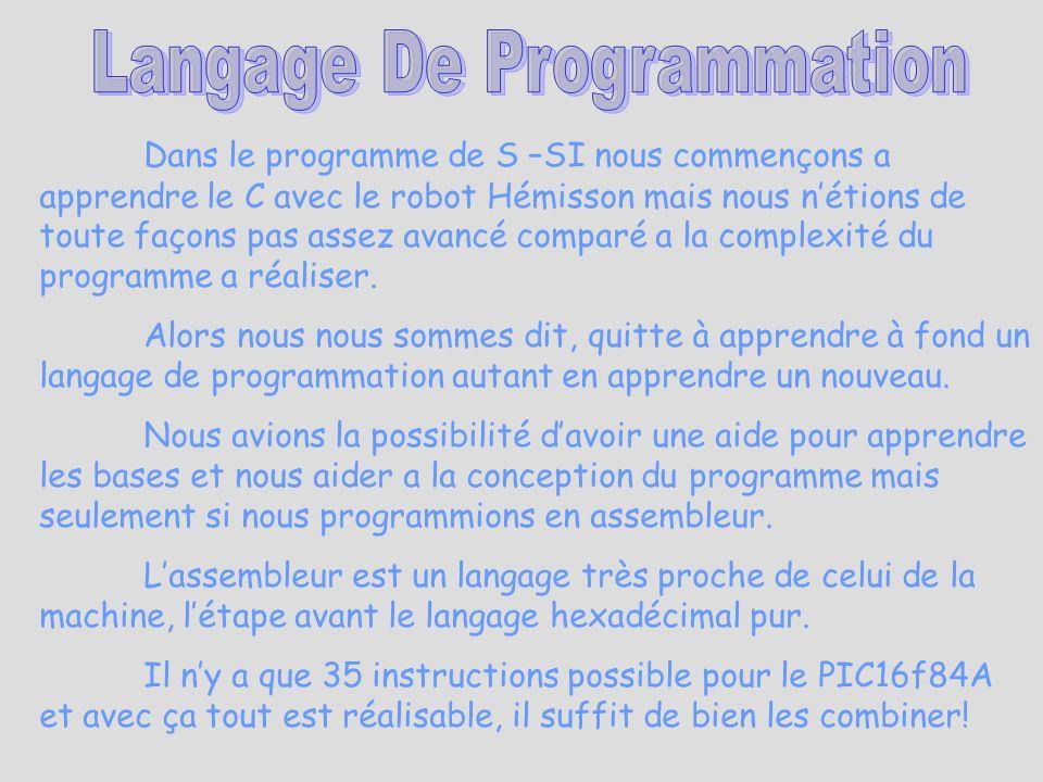 Dans le programme de S –SI nous commençons a apprendre le C avec le robot Hémisson mais nous nétions de toute façons pas assez avancé comparé a la com