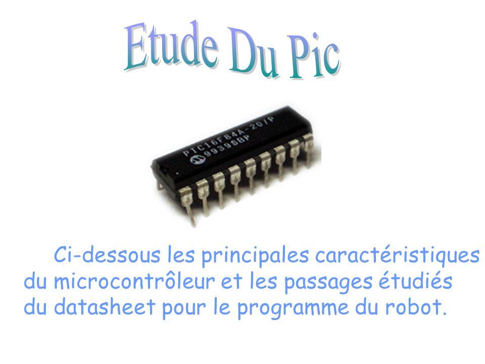 Ci-dessous les principales caractéristiques du microcontrôleur et les passages étudiés du datasheet pour le programme du robot.