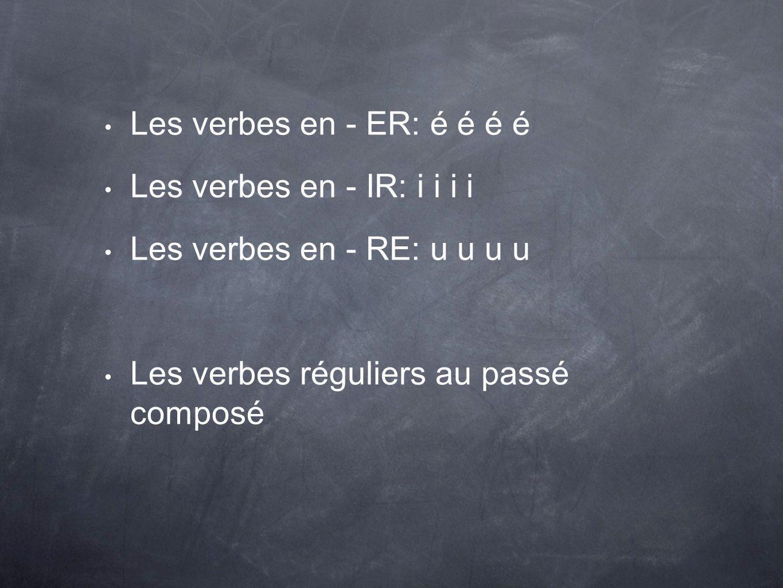 Les verbes en - ER: é é é é Les verbes en - IR: i i i i Les verbes en - RE: u u u u Les verbes réguliers au passé composé