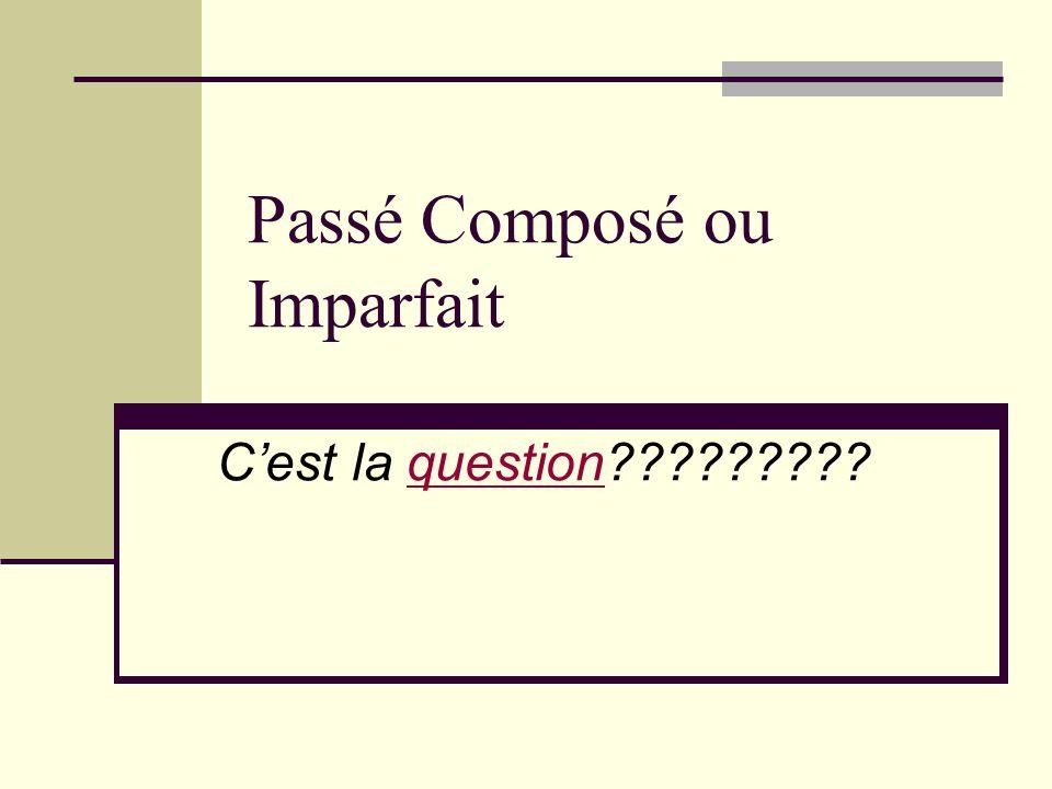 Passé Composé ou Imparfait Cest la question?????????question