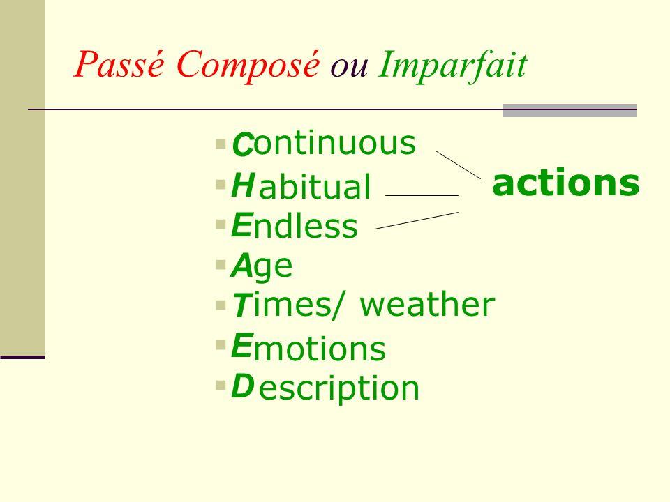 Passé Composé ou Imparfait C H E A T E D ontinuous ndless imes/ weather escription abitual ge motions actions