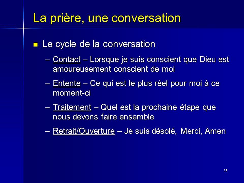 11 La prière, une conversation Le cycle de la conversation Le cycle de la conversation –Contact – Lorsque je suis conscient que Dieu est amoureusement
