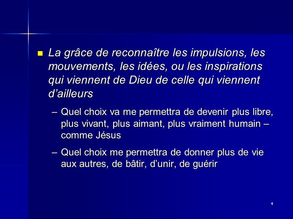 4 La grâce de reconnaître les impulsions, les mouvements, les idées, ou les inspirations qui viennent de Dieu de celle qui viennent dailleurs La grâce