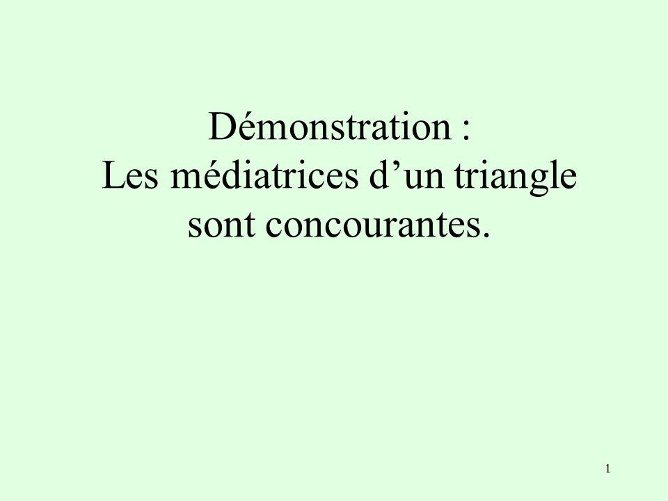 1 Démonstration : Les médiatrices dun triangle sont concourantes.