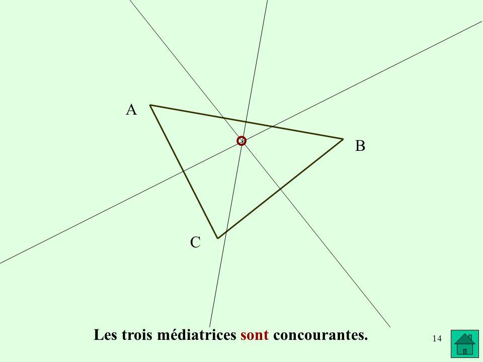 14 A B C Les trois médiatrices sont concourantes.