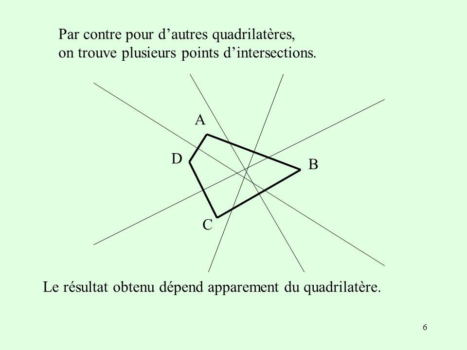 6 A B C D Le résultat obtenu dépend apparement du quadrilatère. Par contre pour dautres quadrilatères, on trouve plusieurs points dintersections.