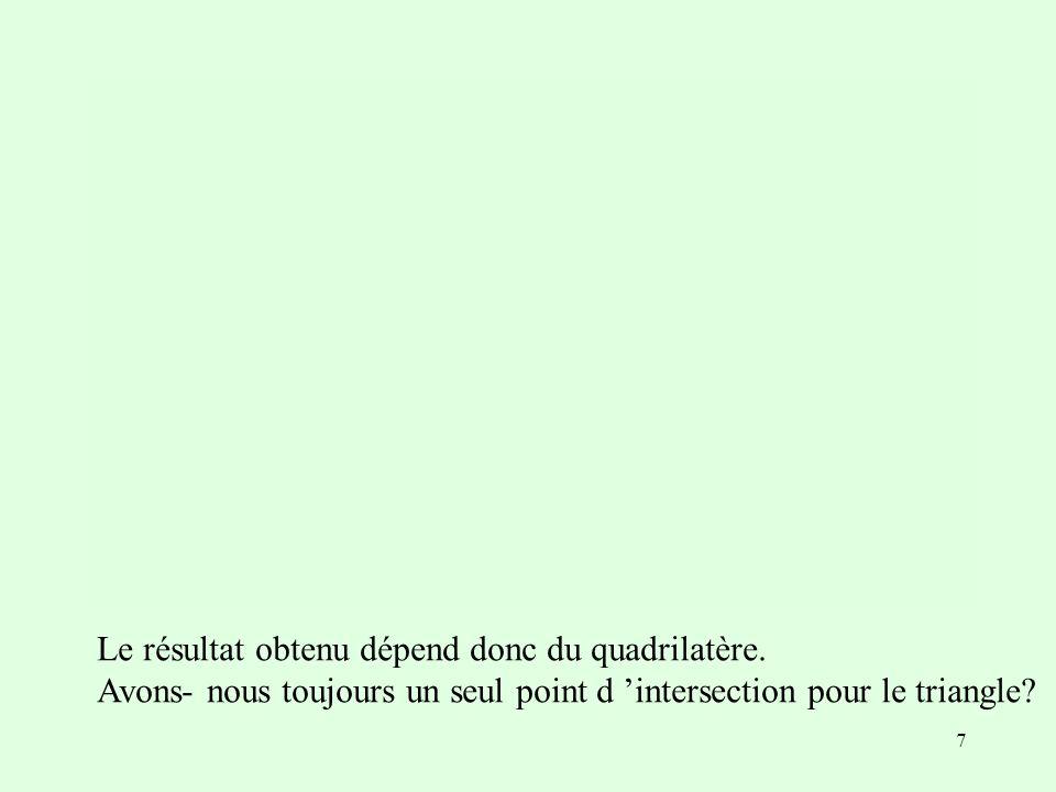 7 Le résultat obtenu dépend donc du quadrilatère. Avons- nous toujours un seul point d intersection pour le triangle?