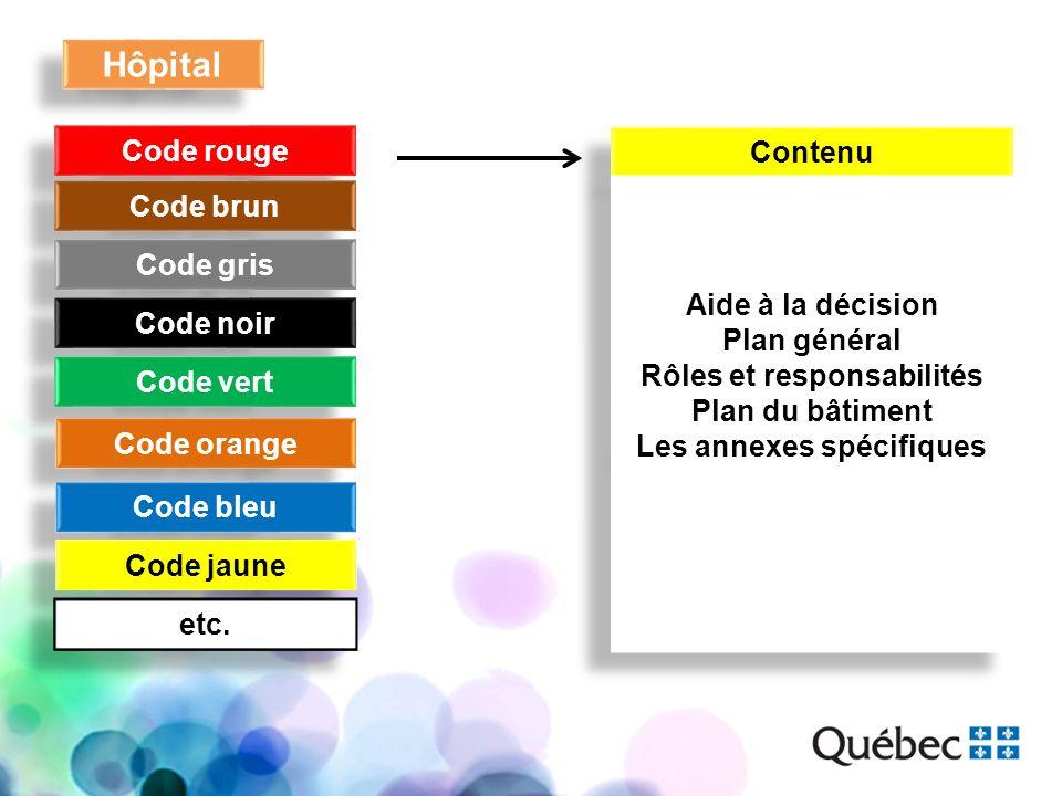 Hôpital Code rouge Code brun Code gris Code noir Code vert Code orange Code bleu Code jaune etc. Contenu Aide à la décision Plan général Rôles et resp