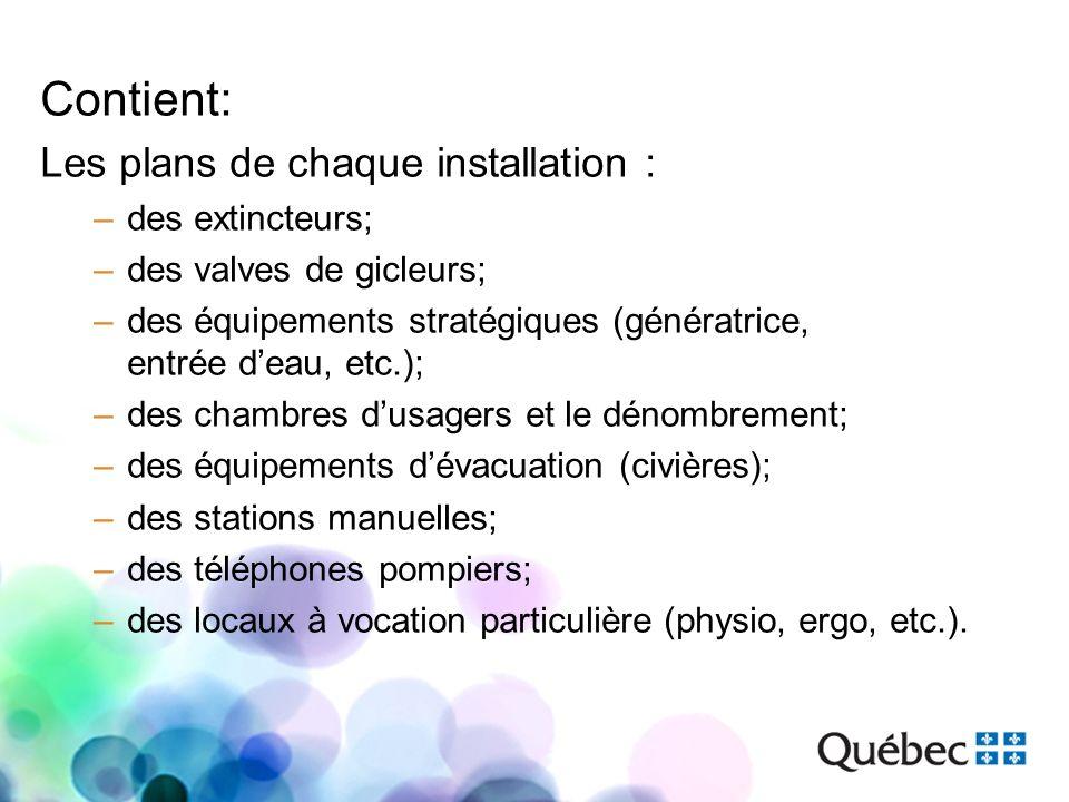 Contient: Les plans de chaque installation : –des extincteurs; –des valves de gicleurs; –des équipements stratégiques (génératrice, entrée deau, etc.)