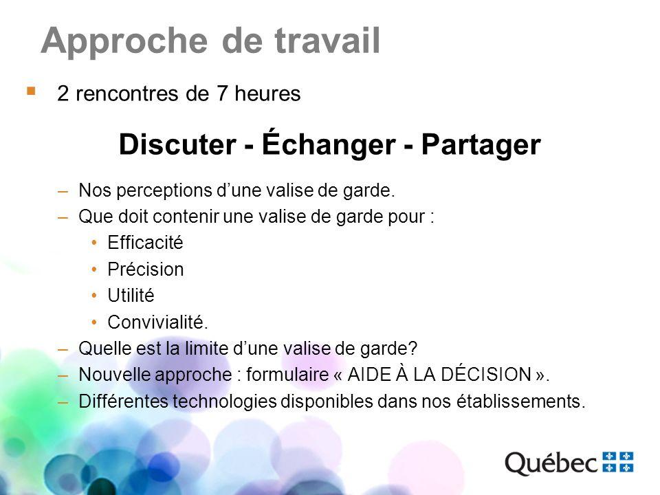 Approche de travail 2 rencontres de 7 heures Discuter - Échanger - Partager –Nos perceptions dune valise de garde. –Que doit contenir une valise de ga